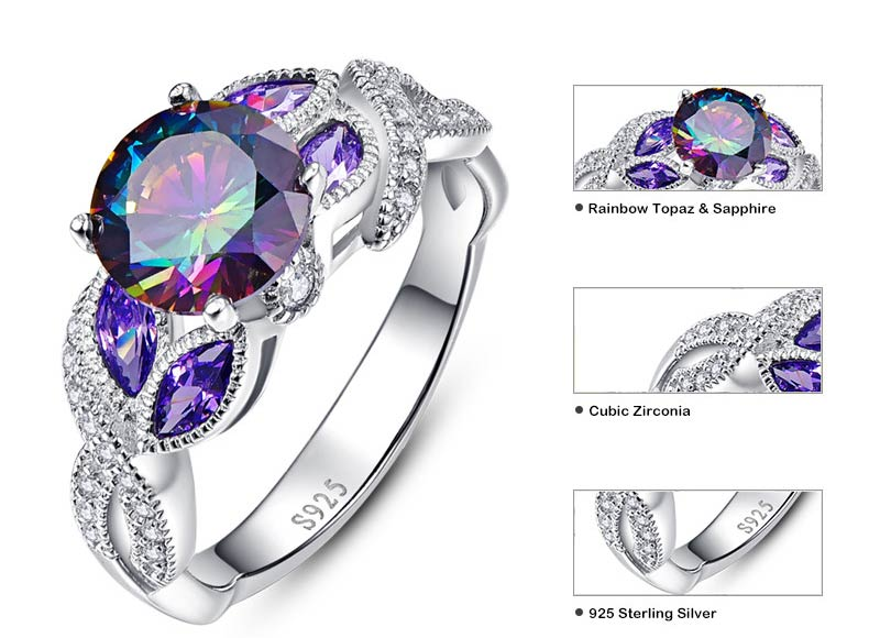 Mystical Rainbow Topaz Ring with Sapphire Gemstone