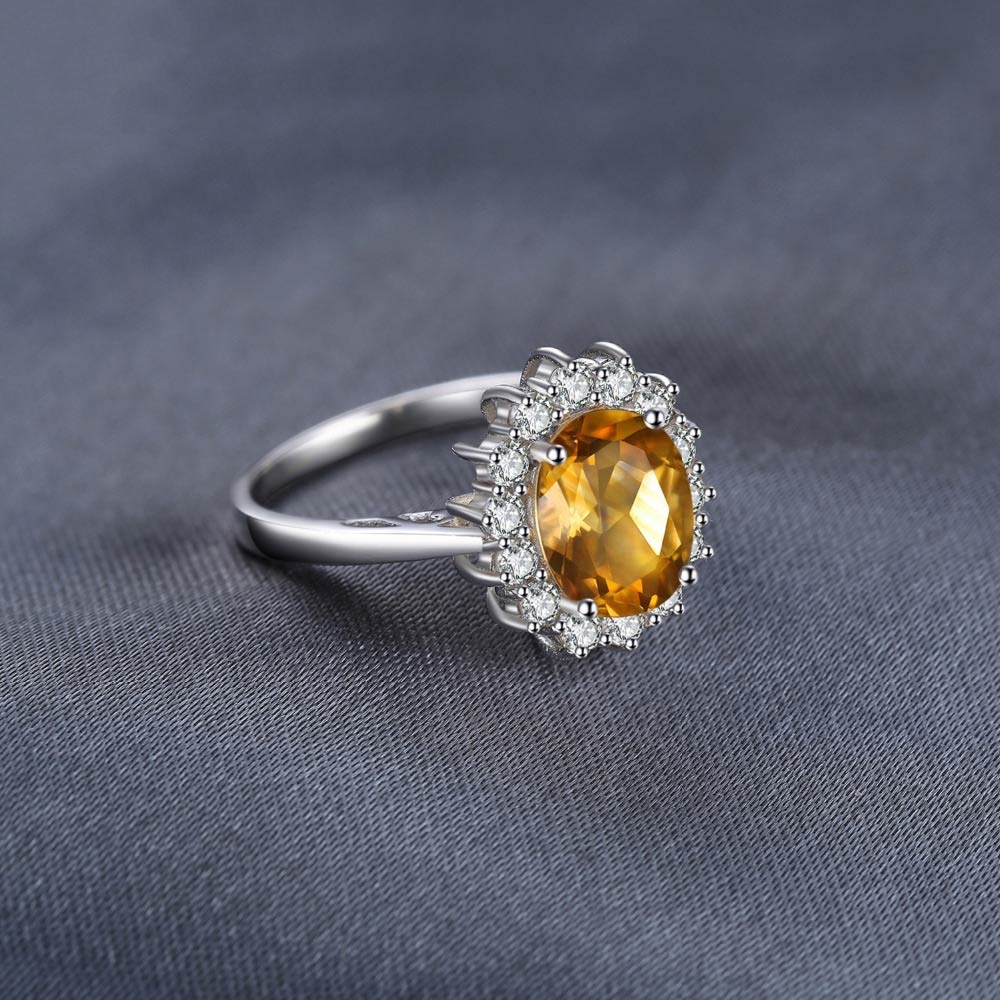 Natural 1.8 carat Yellow Citrine Ring with 15 Zircons for Women
