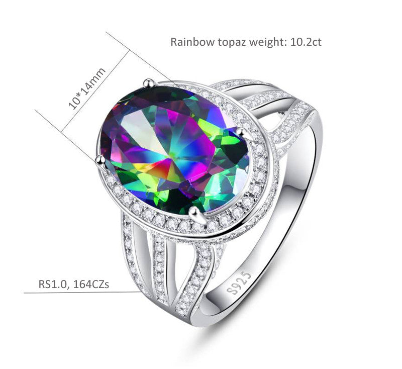 Oval 10.2 ct Natural Stone Rainbow Topaz Gemstone Ring For Women