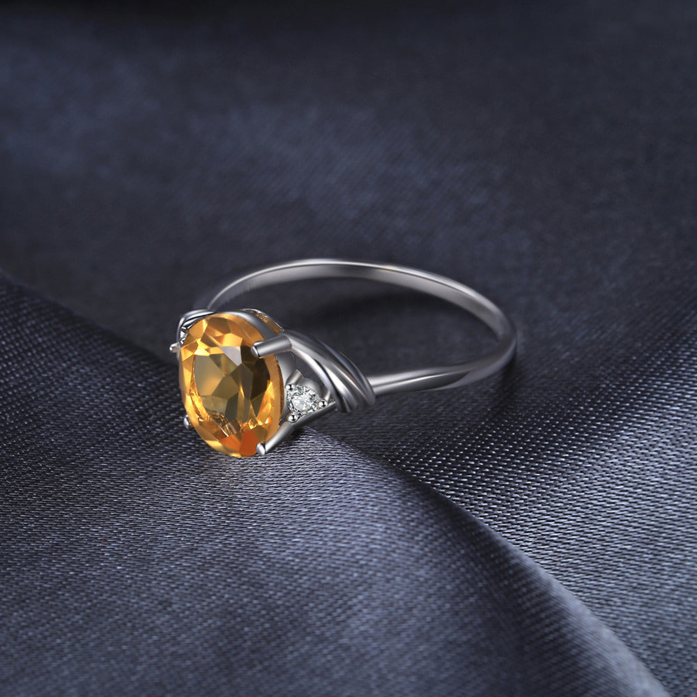 Oval Cut Natural Yellow Citrine 1.8 carat Gemstone Ring for Women