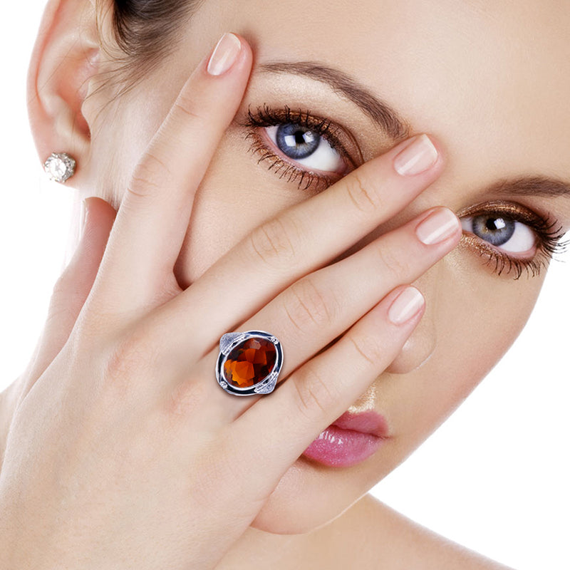 Oval Shape Vintage Brown Amber Gemstone Ring for Women