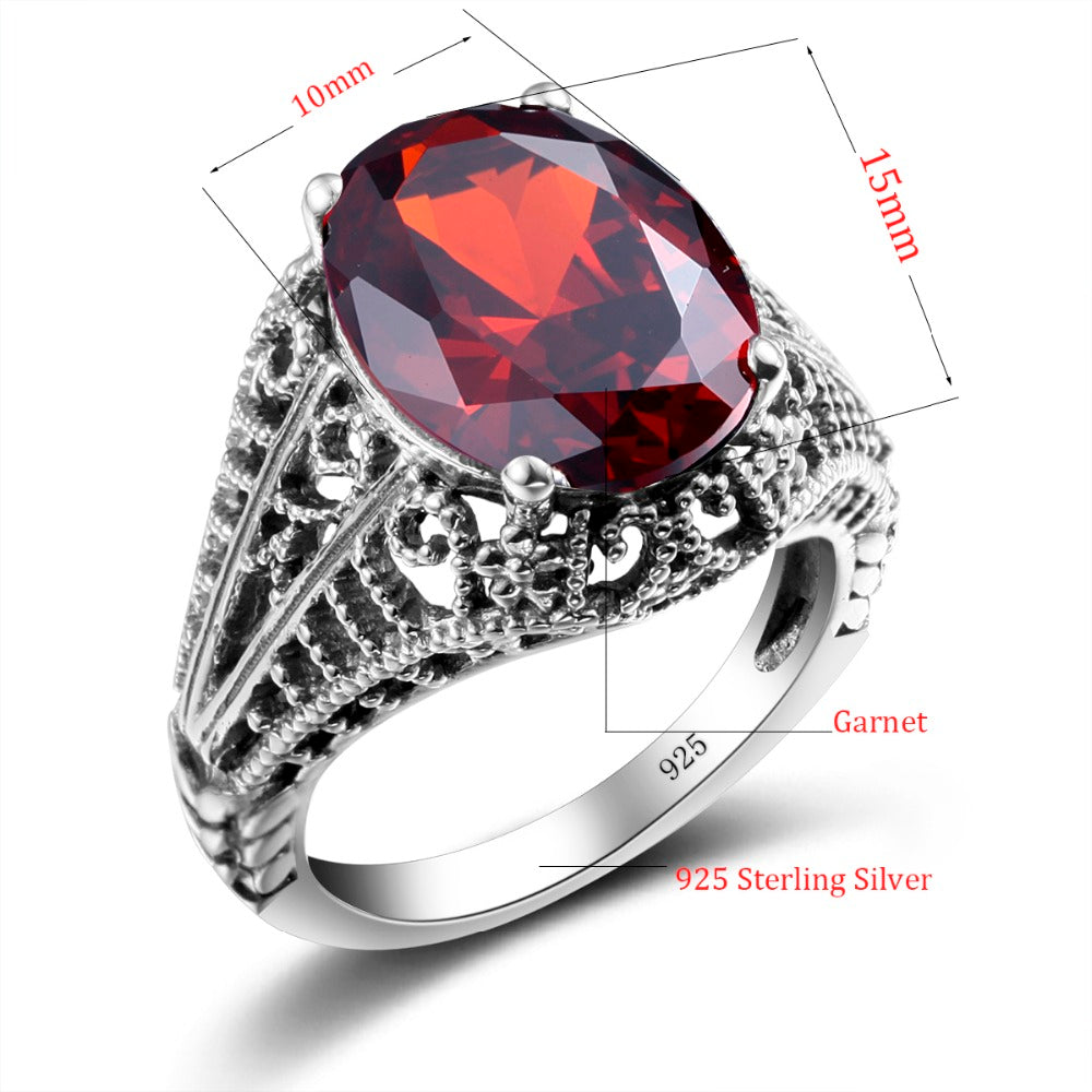 Oval Shape Vintage Collection Red Garnet Gemstone Ring for Women