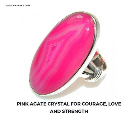 Pink Agate Crystal for Courage and Love