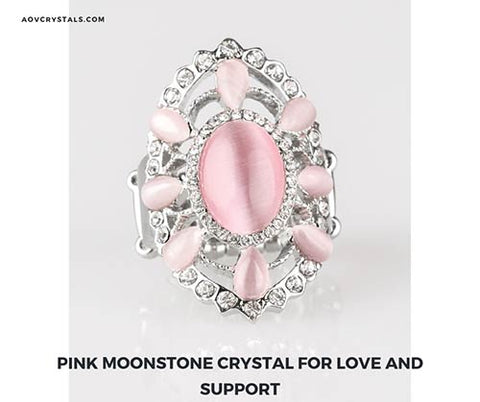 Pink Moonstone Crystal for Love and Support