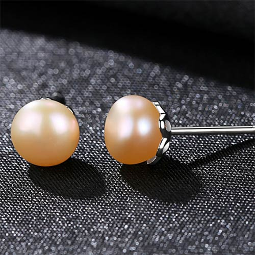 Pink and White Natural Cultured Freshwater Pearl Stud Earrings