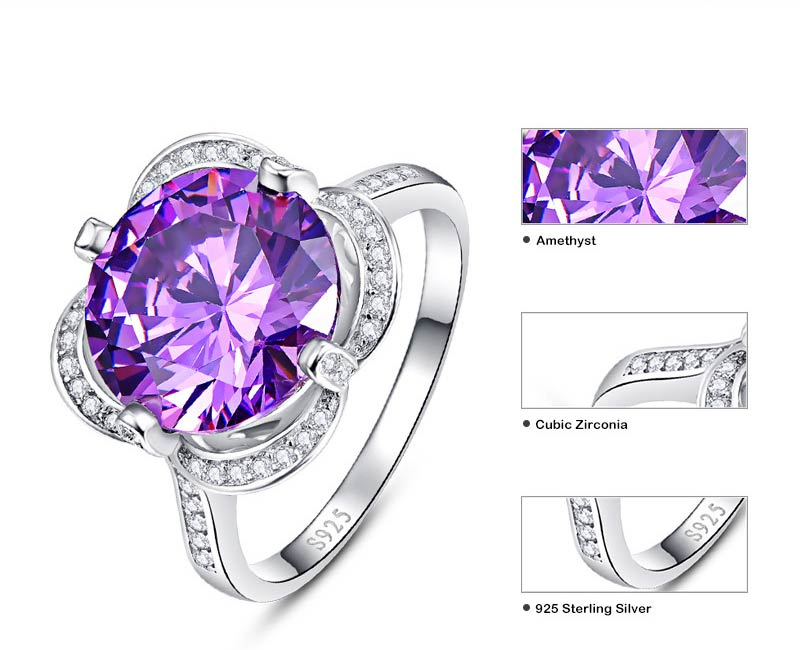 Purple Amethyst Natural Gemstone Round Cut Ring