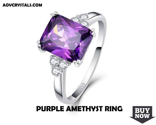Purple Amethyst Silver Ring for Women
