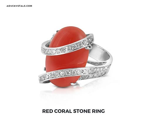 Red Coral Stone Ring