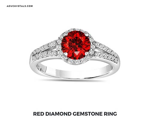 Red Diamond Gemstone Ring