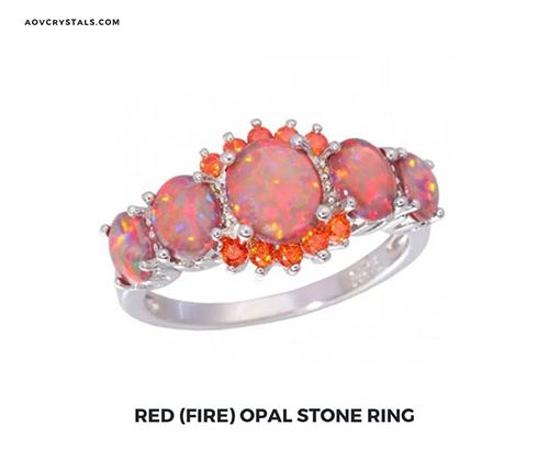 Red Fire Opal Stone Ring