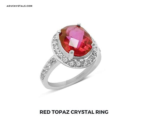 Red Topaz Crystal Ring