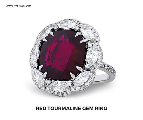 Red Tourmaline Gem Ring