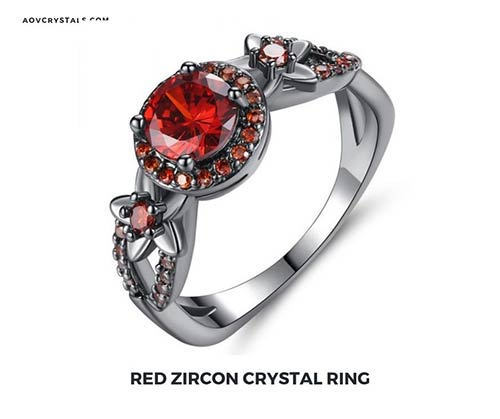 Red Zircon Crystal Ring