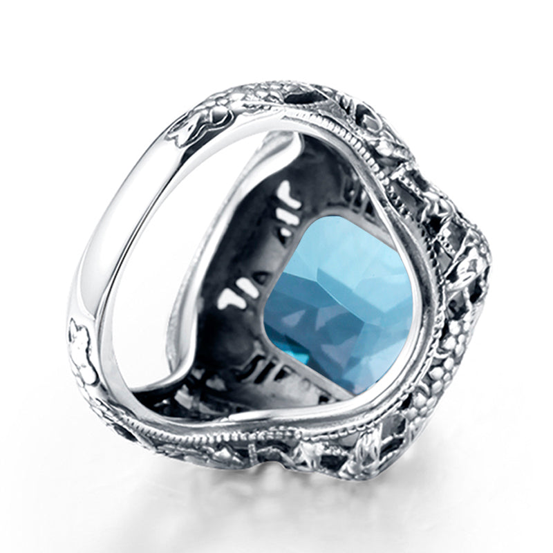 Retro Aquamarine Blue Gemstone Crystal Ring for Women 03