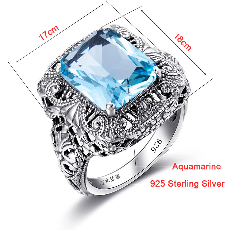 Retro Aquamarine Blue Gemstone Crystal Ring for Women