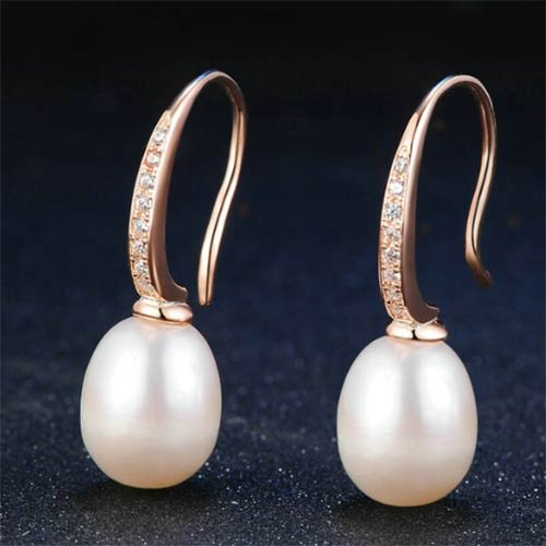 Rose Gold Natural Freshwater White Pearl Earrings