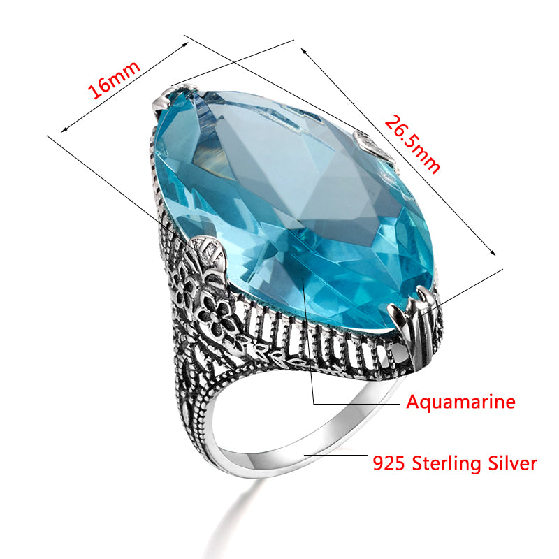 Royal Vintage Exaggerated Ring with Big Oval Blue Aquamarine Gemstone