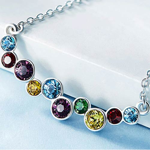 Silver Necklace Embellished with Swarovski Multi-color Sapphire Crystals