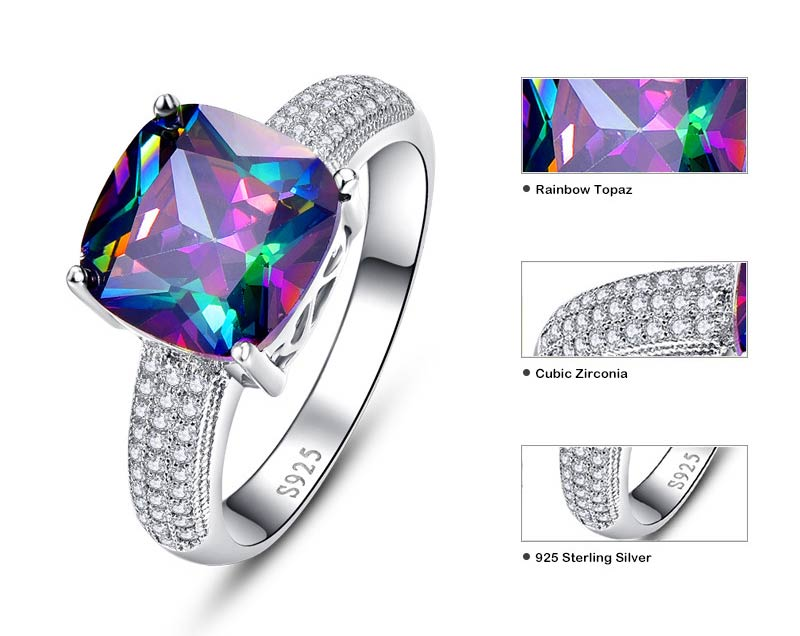 Square Rainbow Mystic Topaz Ring with 7.3 ct Gemstone for Women
