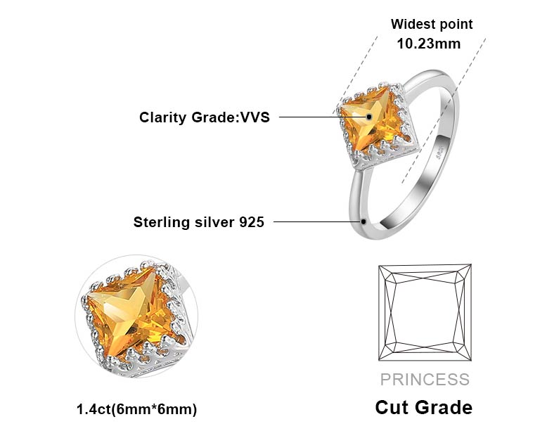 Square Shaped 1.4 carat Natural Yellow Citrine Gemstone Ring