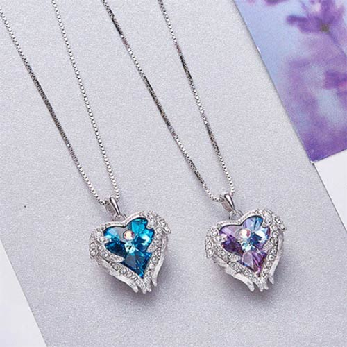Swarovski Crystal Certified Sapphire Angel Wings Necklace