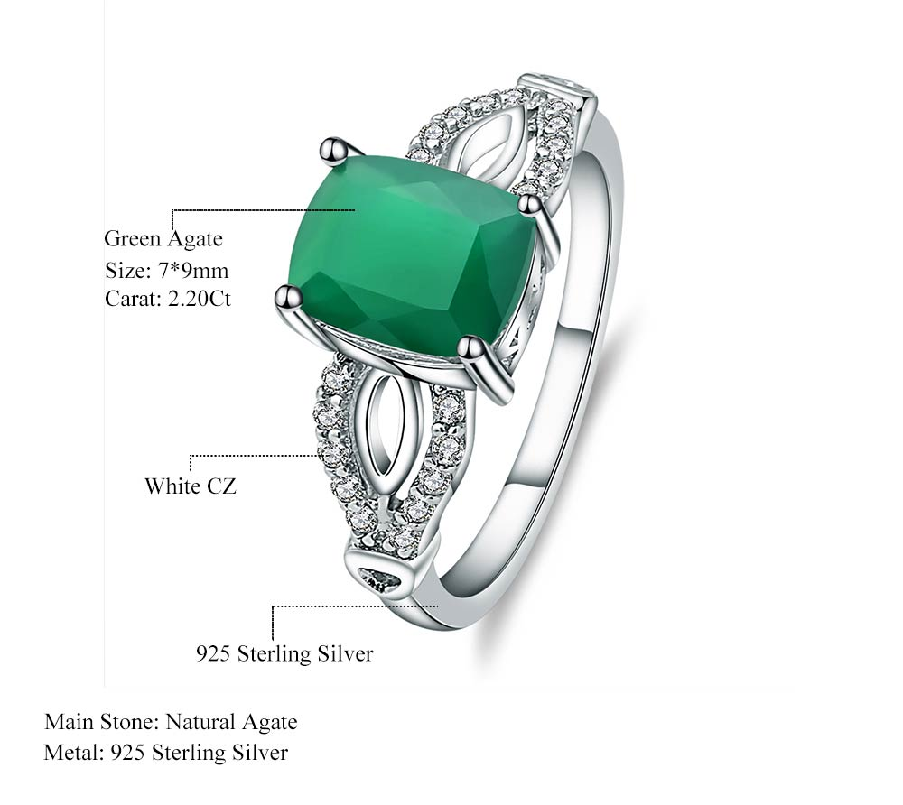 Trendy 2.2 carat Natural Green Agate Gemstone Ring