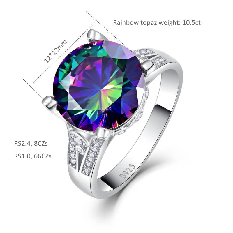 Trendy Round Cut 10.5 ct Rainbow Topaz Ring for Women