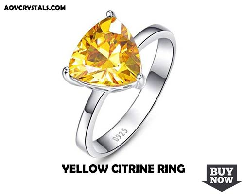 Triangle Shaped Natural Citrine Gemstone Ring