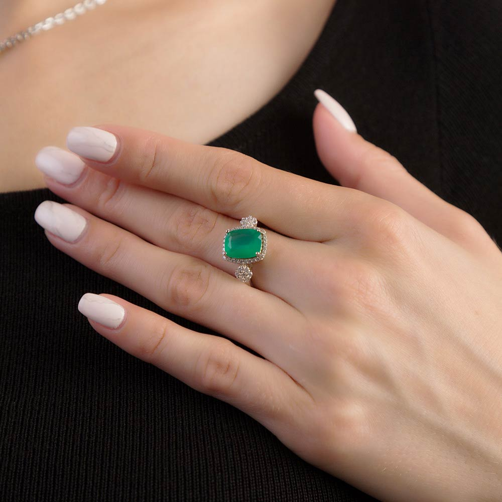 Vintage Collection Green Agate Gemstone Ring for Women