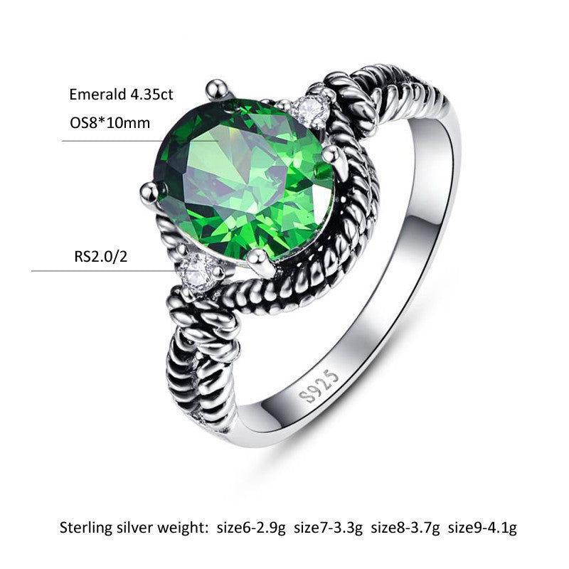 Vintage 4.35 Carat Round Green Emerald Ring for Women