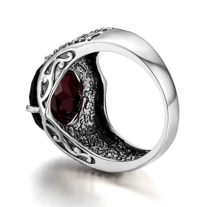 Vintage Art Ring with Round Shape Red Garnet Gemstone