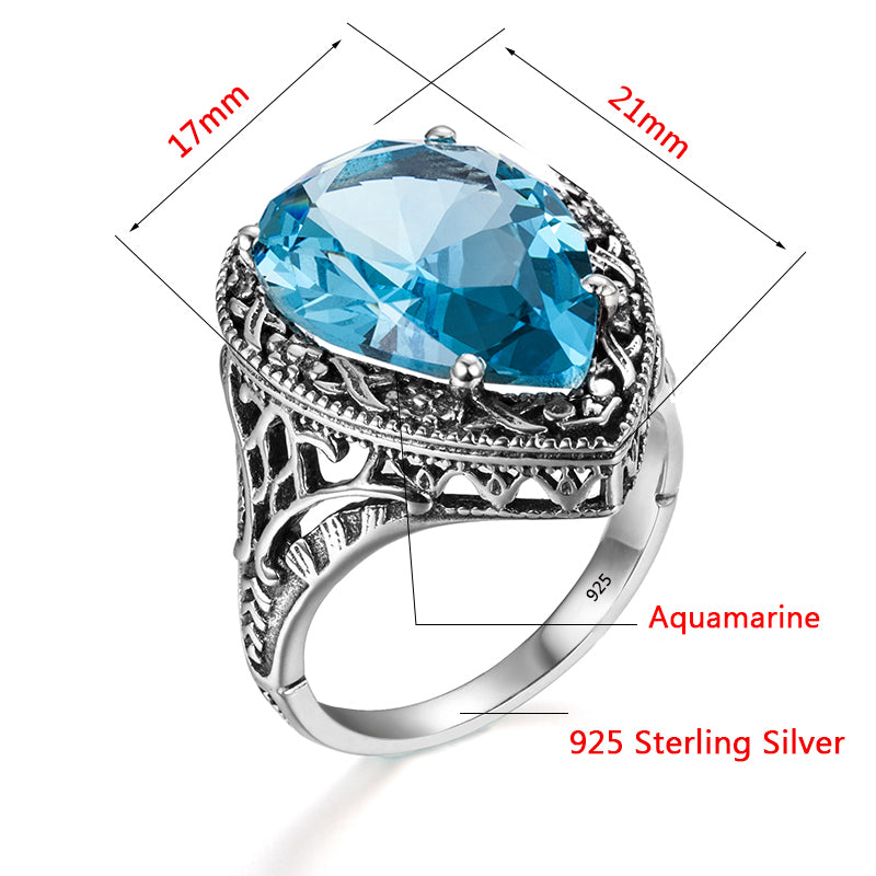 Vintage Baroque Style Water Drop Blue Aquamarine Gemstone Ring for Women