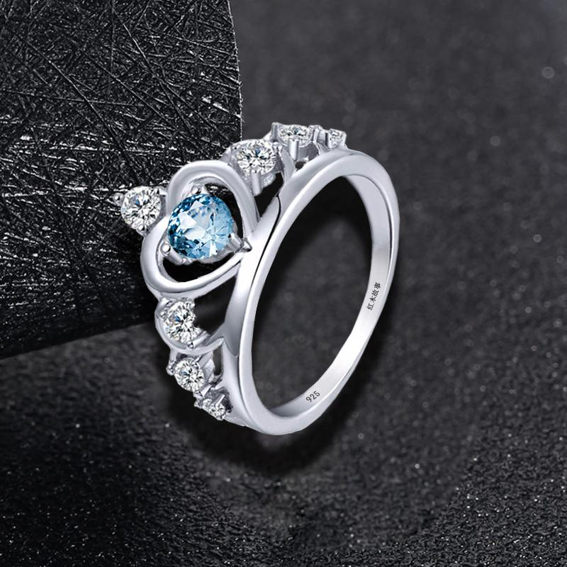 Vintage Blue Aquamarine Gemstone with White Gold Ring For Women