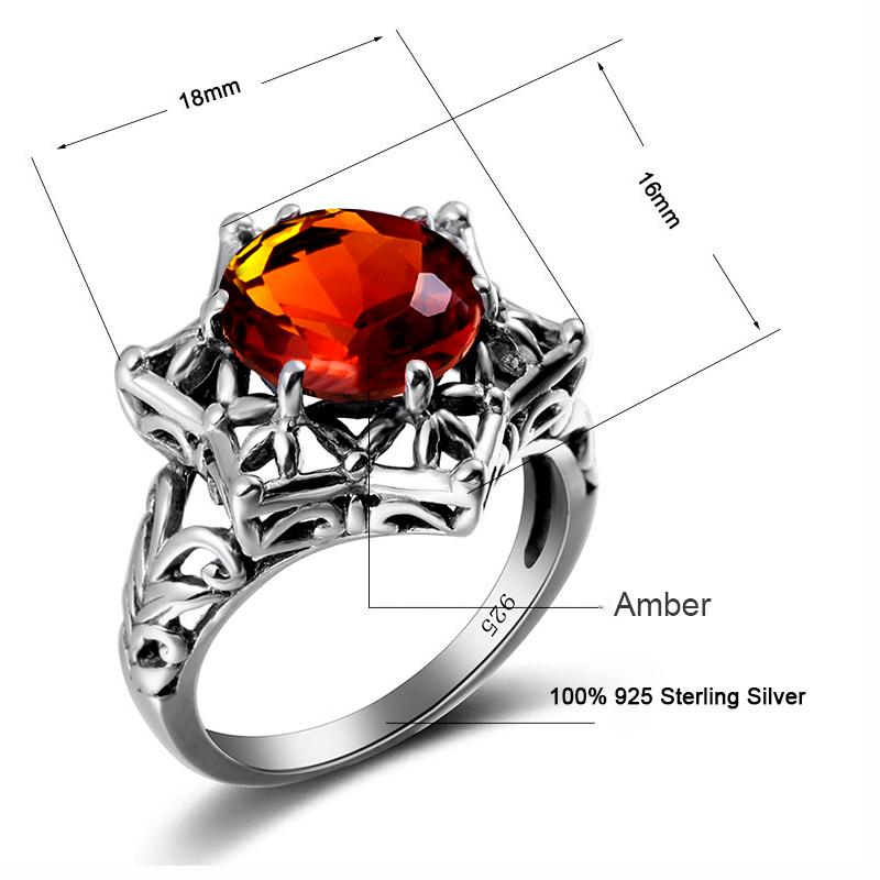 Vintage Handmade Brown Amber Gemstone Ring for Women