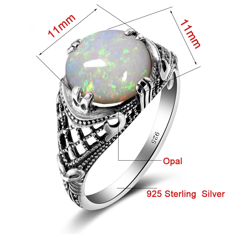 Vintage Handmade White Fire Opal Gemstone Ring for Women