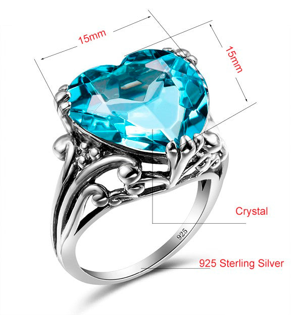 Vintage Heart Shape Style Blue Aquamarine Crystal Ring For Women