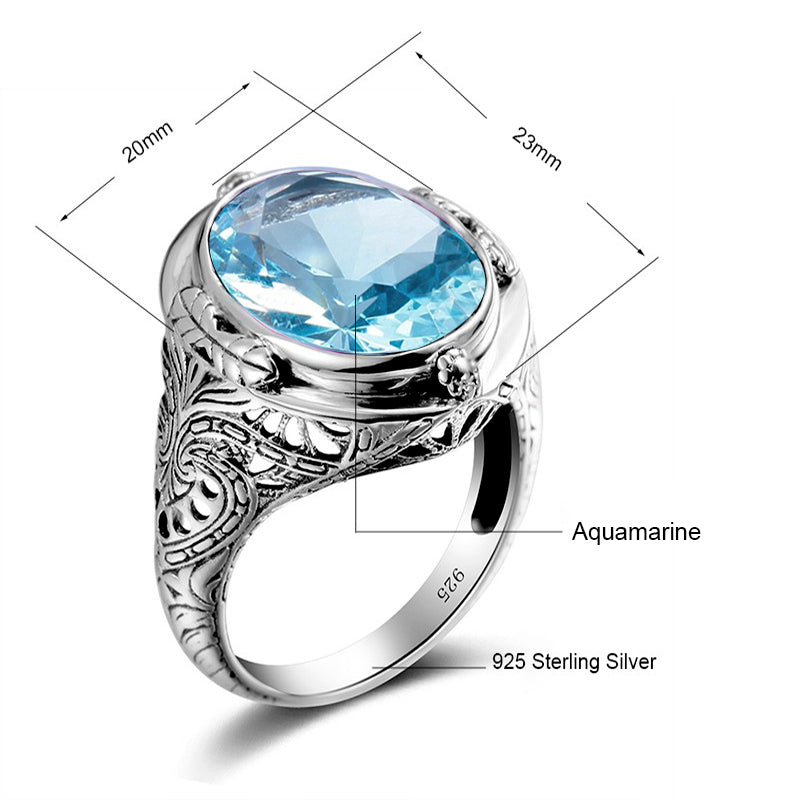 Vintage Luxury Blue Aquamarine Gemstone Ring for Women