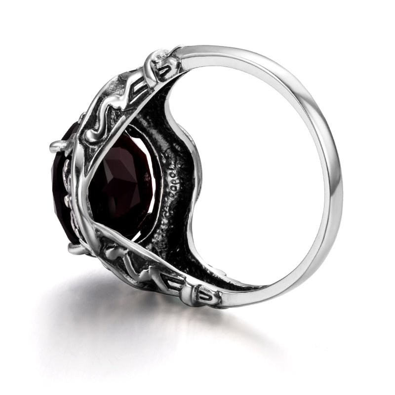Vintage Round Red Garnet Gemstone Ring for Women