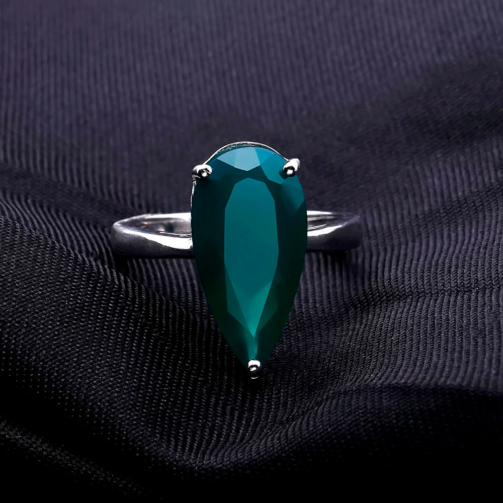 Water Drop Ring from 7.89 carat Natural Green Agate Gemstone