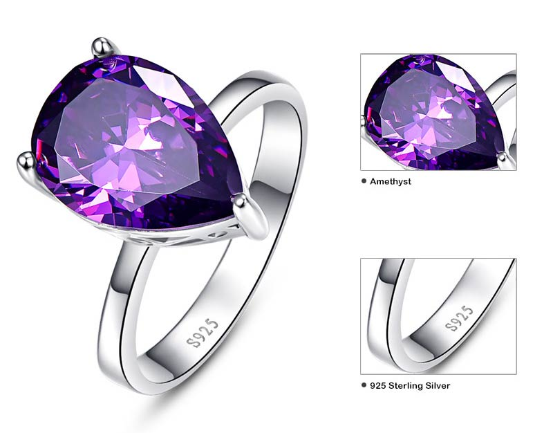 Waterdrop Amethyst Pearl Cut Ring 8.8 Carats for Women 02