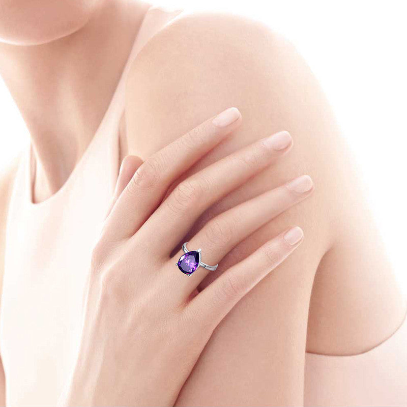 Waterdrop Amethyst Pearl Cut Ring 8.8 Carats for Women