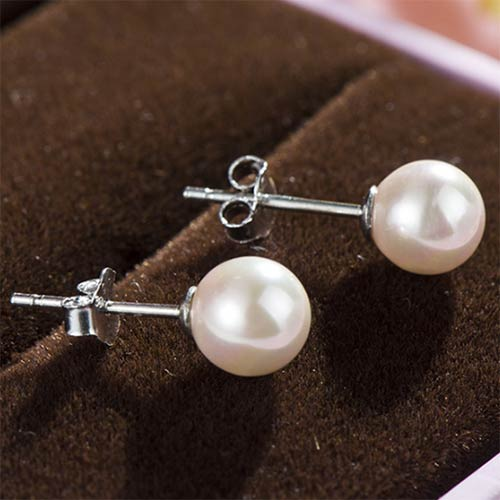 White and Pink 8 mm Natural Pearl Stud Earrings