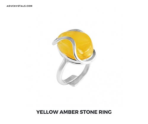 Yellow Amber Stone Ring