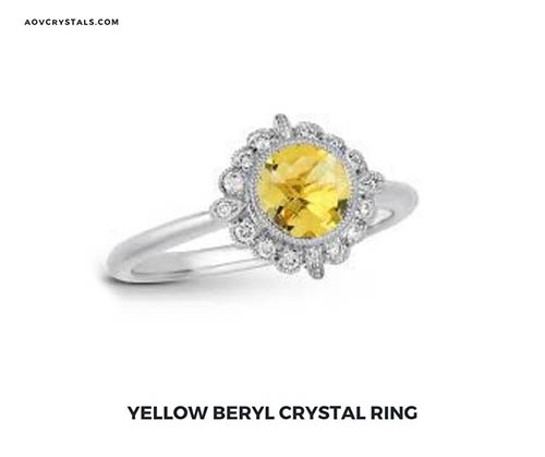 Yellow Beryl Crystal Ring