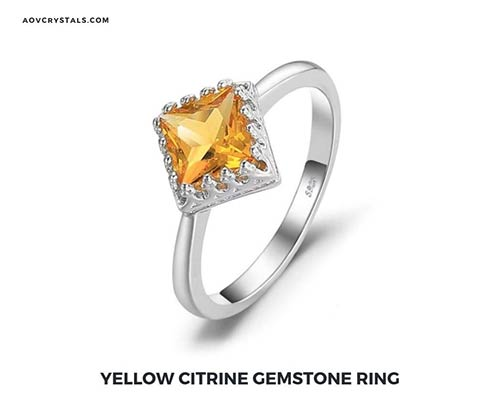 Yellow Citrine Gemstone Ring