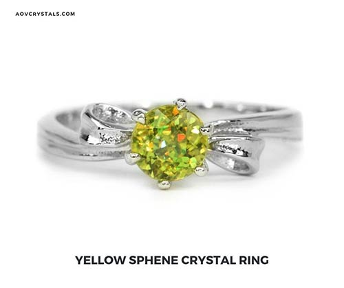 Yellow Sphene Crystal Ring