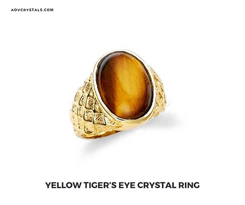 Yellow Tigers Eye Stone Ring