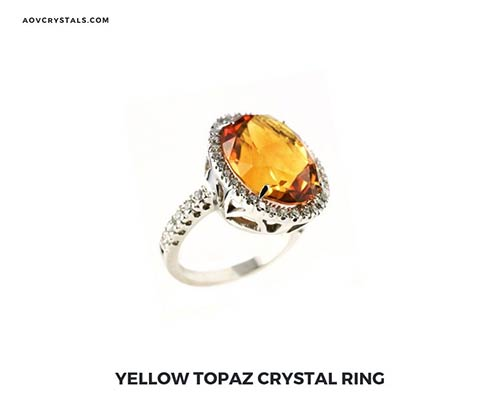 Yellow Topaz Crystal Ring