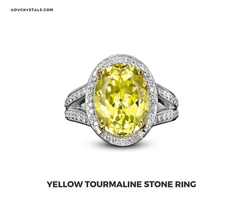 Yellow Tourmaline Stone Ring