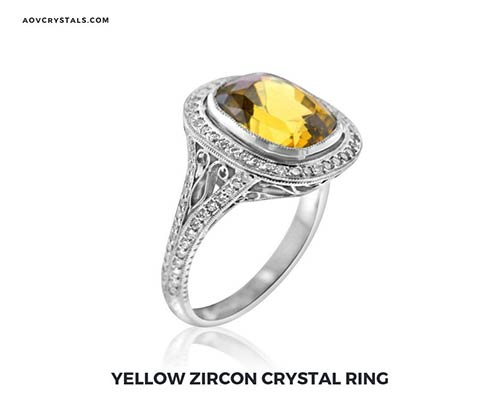 Yellow Zircon Crystal Ring